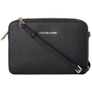 MK Black Jet Set Saffiano Leather Crossbody Bag